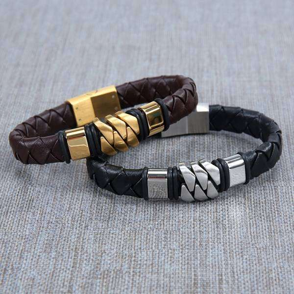 Woven Metal & Leather Bracelet,Jewelry,Mad Man, by Mad Style