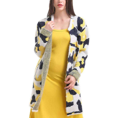 Yellow/Black/White Dripping Abstract Pocket Cardigan