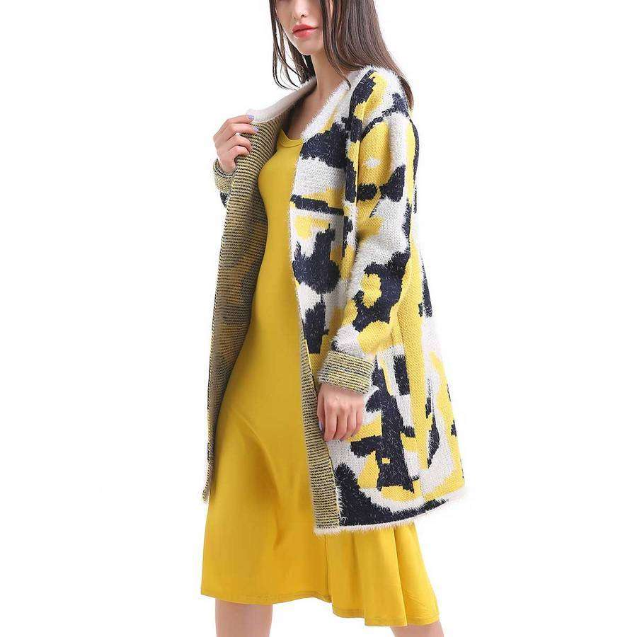 Yellow/Black/White Dripping Abstract Pocket Cardigan,Outerwear,Mad Style, by Mad Style