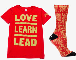 CBMA Unisex Love Learn Lead Socks Red/Gold T Shirt