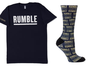 Shop for a great cause! Rumble Young Man Rumble T Shirt and Socks Navy