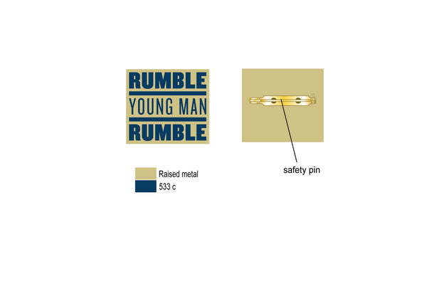 Custom Gold Lapel Pin with  Rumble Young Man Rumble Logo specs