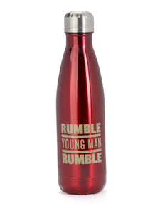 Rumble Young Man Rumble Stainless Steel Water Bottle Red and Gold Silver Front View