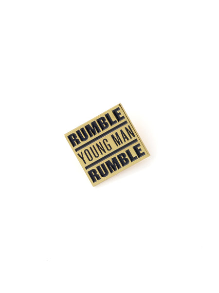 Custom Gold Lapel Pin with  Rumble Young Man Rumble Logo