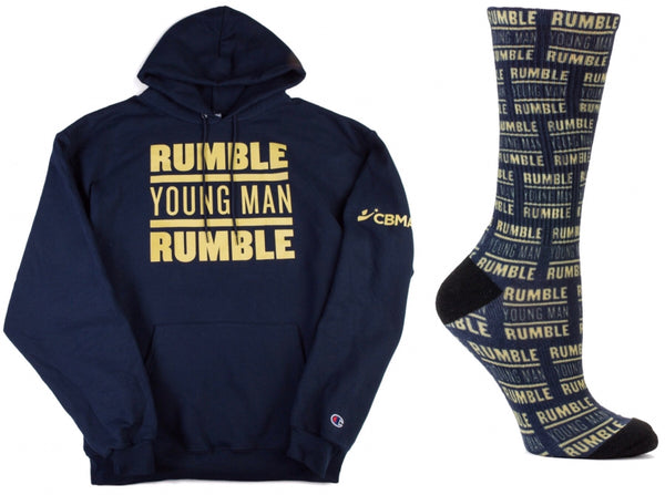 Collage Rumble Young Man Rumble Sweatshirt Hoodie and Socks Front View