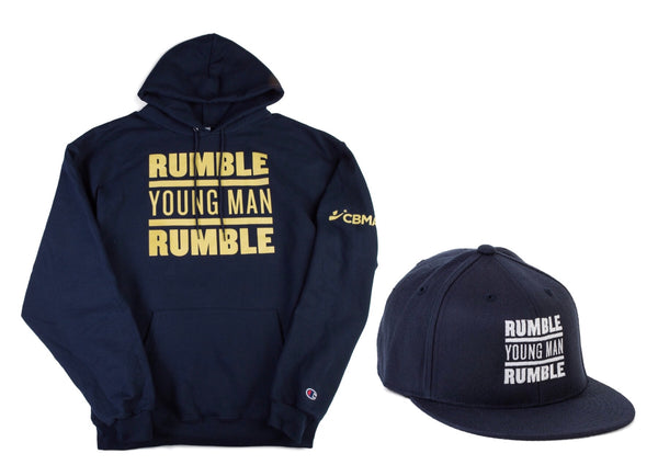 Collage Rumble Young Man Rumble Sweatshirt Hoodie and SnapBack Hat Front View