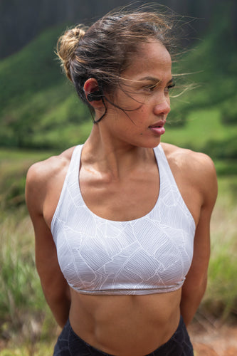 Gray Leaflet Sports Bra
