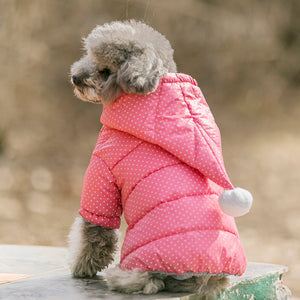 CUTE POLKA DOT PUPPY DOG PUFF COAT WITH HOOD