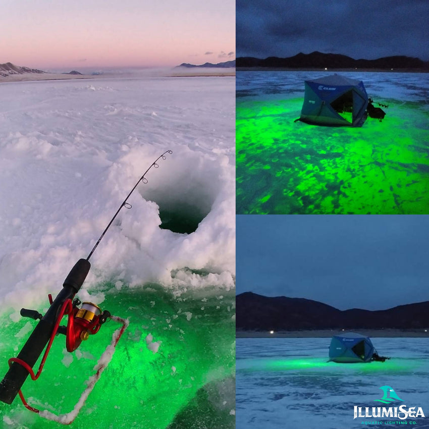 Best underwater LED ice fishing lights to attract fish.  Our LED ice fishing lights generates 12,000 lumens of fish attracting light.