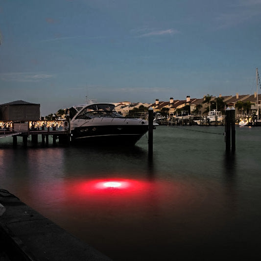 Underwater red dock light perfect for use as a pond light, marine light, boat light, or dock light
