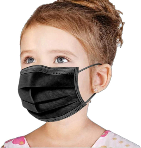 [100 PCS] DR.'S CLEAN Kids Black Face Mask