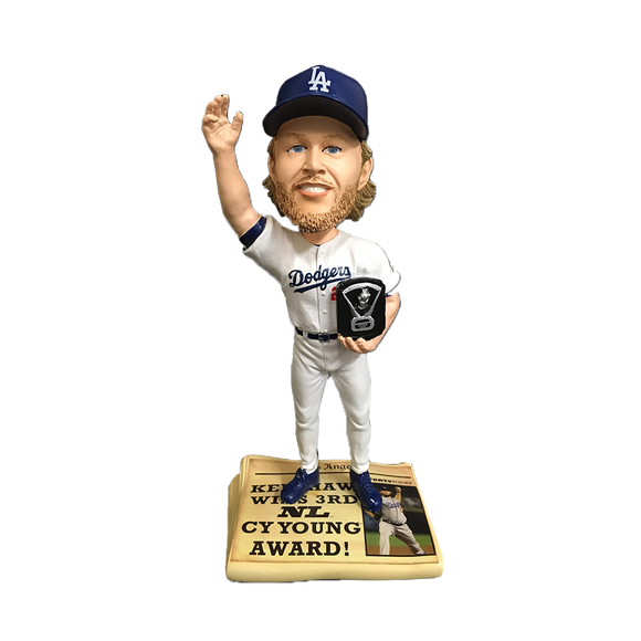 FOCO Clayton Kershaw Dodgers Newspaper Bobblehead HEH0215