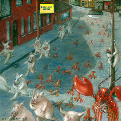 Matted Mini Print: Annual Running of the Lobsters