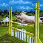Matted Mini Print: What Pigs Do When Horses Aren't Looking