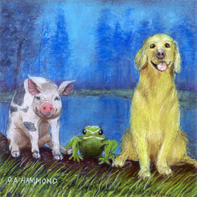 Matted Mini Print: A Hog on a Log with a Frog and a Dog in the Bog in the Fog