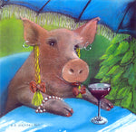 Matted Mini Print: Enjoying a Swine Cooler