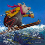 Matted Mini Print: Hog High on Skiing
