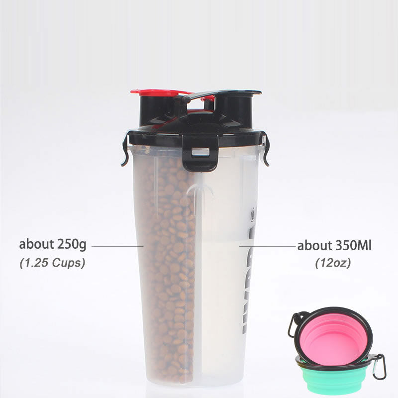 2 in 1 Portable Pet Travel Food and Water Container with 2 Collapsable Bowls