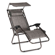 Zero Gravity Reclining Camp Chair with Canopy, Headrest, and Cup Holder