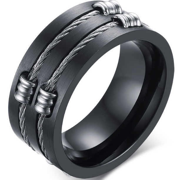 10mm Matte Finished Black Titanium Flat Edge Ring With Double Black Stainless Steel Rope