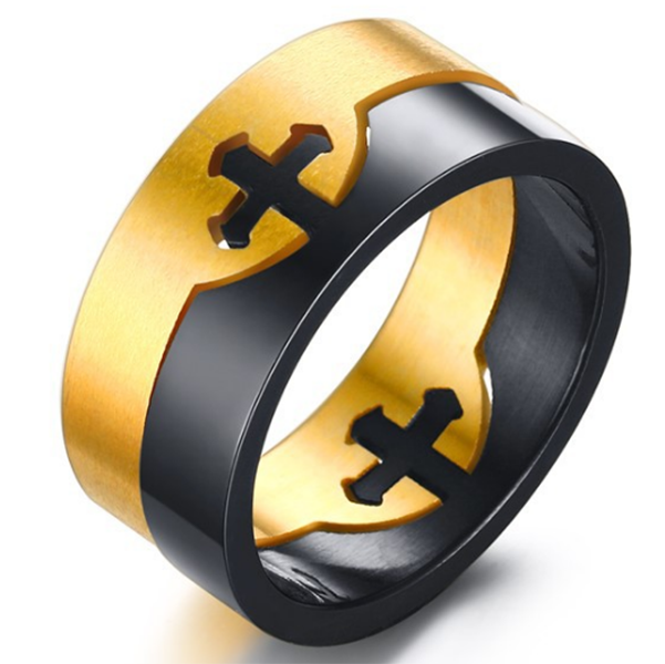 10mm Matte Finished Black And Gold Titanium Flat Edge Detachable Ring