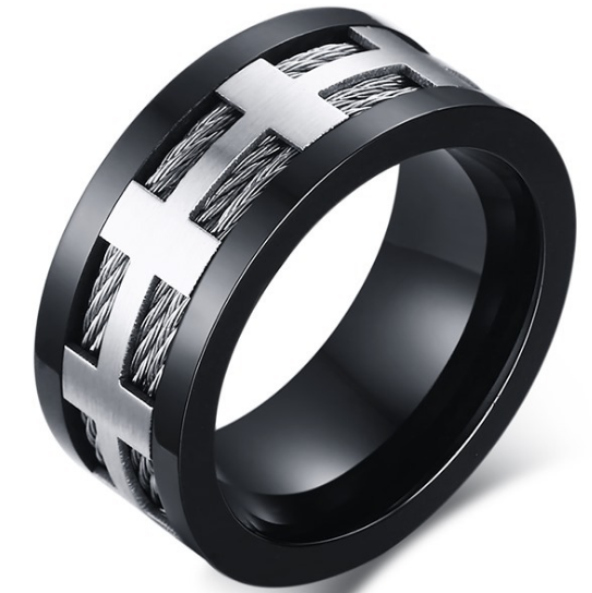10mm Matte Finished Black Titanium Flat Edge Ring With Double Stainless Steel Rope And Silver Center
