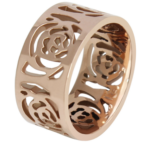 10mm Matte Finished Rose Gold Titanium Flat Edge Ring With Rose Design