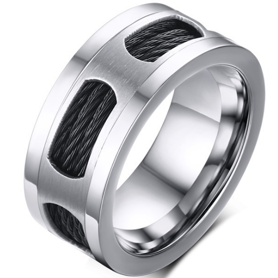 10mm Matte Finished Silver Titanium Flat Edge Ring With Double Black Stainless Steel Rope And Silver Center