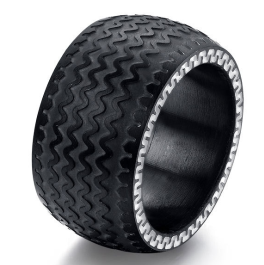 13mm Matte Finish Black Titanium Flat Edge Ring With Wavy Black Design