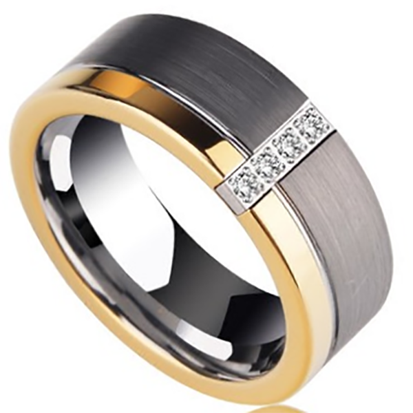 8mm Matte Finished Silver And Polished Finished Gold Tungsten Carbide Flat Edge Ring With Gemstones
