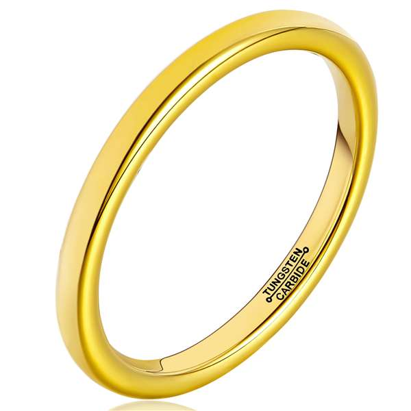 2mm Matte Finished 18K Gold Tungsten Carbide Flat Edge Ring