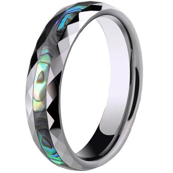 4mm Polished Finished Silver Ceramic Faceted Edge Ring With Abalone Shell Inlay