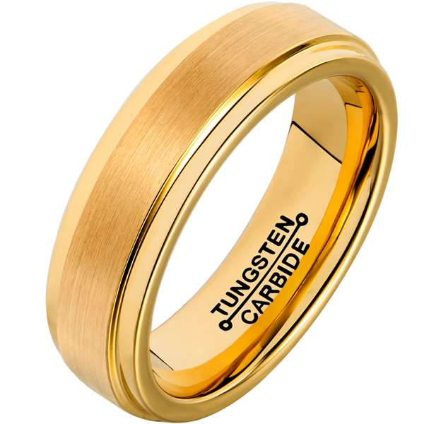 4mm Matte Finished 18K Gold Tungsten Carbide Step Down Edge Ring With Gold Raised Matte Brushed Center