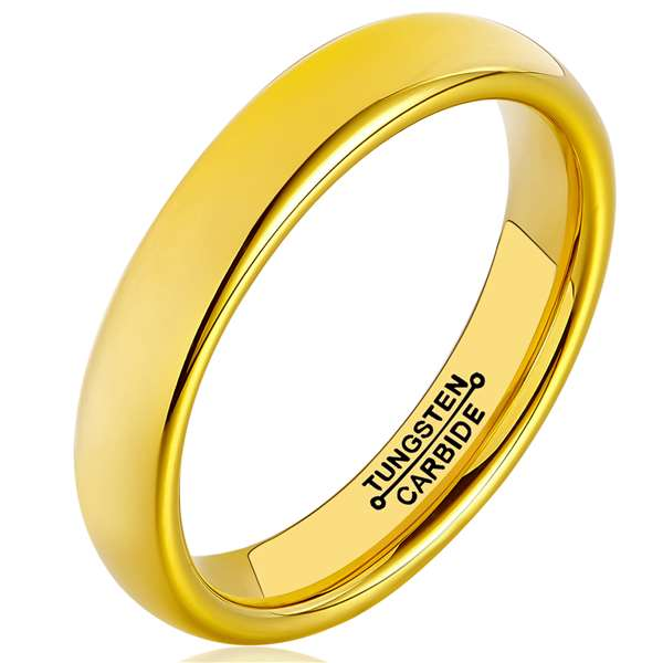 4mm Matte Finished 18K Gold Domed Tungsten Carbide Flat Edge Ring