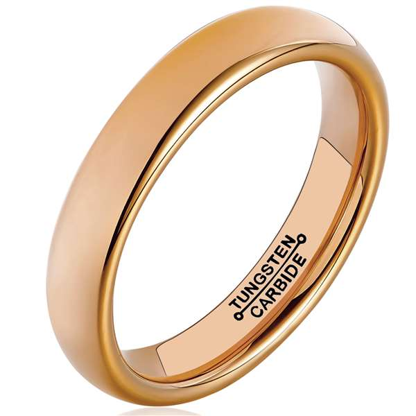 4mm Matte Finished 18K Rose Gold Domed Tungsten Carbide Flat Edge Ring