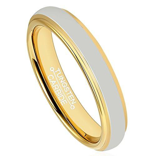 4mm Polished Finished Gold Tungsten Carbide Step Down Edge Ring With Silver Raised Matte Brushed Center