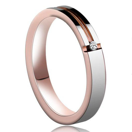 4mm Polished Finished Rose Gold Tungsten Flat Edge Ring With Silver Matte Polished And Gemstone