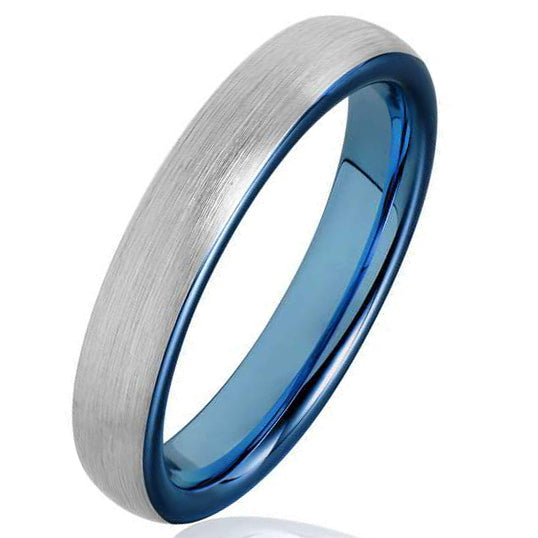 4mm Matte Finished Blue Tungsten Carbide Flat Edge Dome Ring With Silver Matte Brushed