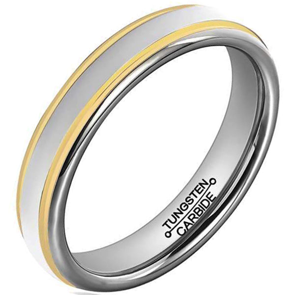 6mm Polished Finished Silver Tungsten Carbide Flat Edge Dome Ring With Double Gold Groove And Silver Matte Brushed Center