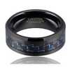 4mm Matte Finished Black Tungsten Carbide Beveled Edge Ring With Black And Blue Carbon Fiber Inlay