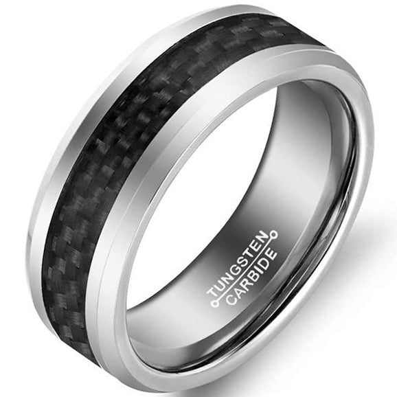 4mm Matte Finished Silver Tungsten Carbide Flat Edge Ring With Black Carbon Fibre Inlay