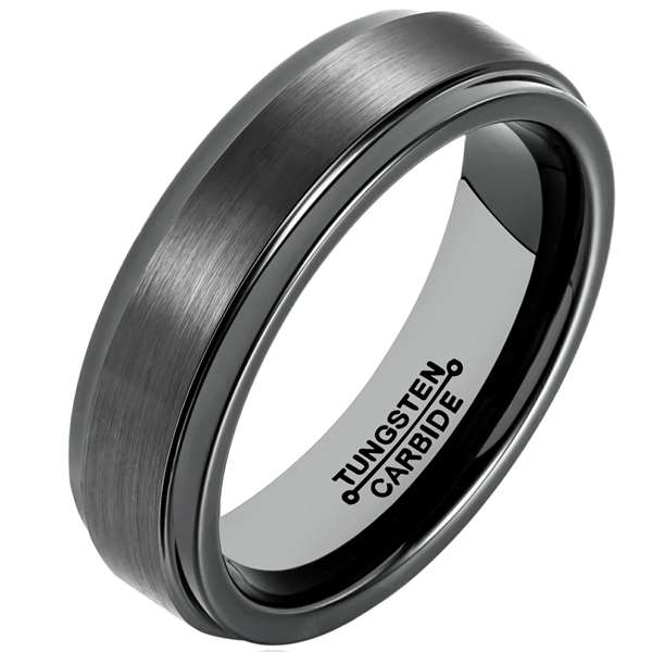 4mm Matte Finished Black Tungsten Carbide Step Down Edge Ring With Black Raised Matte Brushed Center