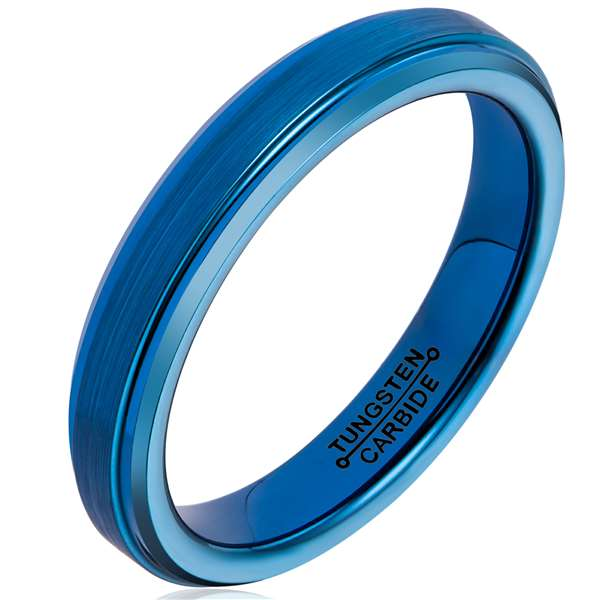 4mm Matte Finished Blue Tungsten Carbide Step Down Edge Ring With Blue Raised Matte Brushed Center