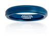 4mm Matte Finished Blue Tungsten Carbide Flat Edge Ring With Blue Raised Matte Brushed Center
