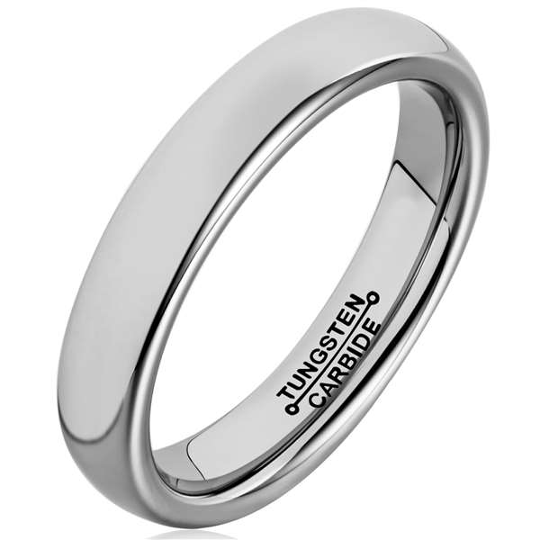 4mm Polished Finished Silver Tungsten Carbide Flat Edge Ring