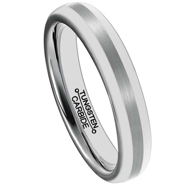 4mm Polished Finished Silver Tungsten Carbide Flat Edge Ring With Matte Brushed Center