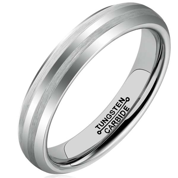 4mm Polished Finished Silver Tungsten Carbide Flat Edge Dome Ring With Double Matte Brushed Centre