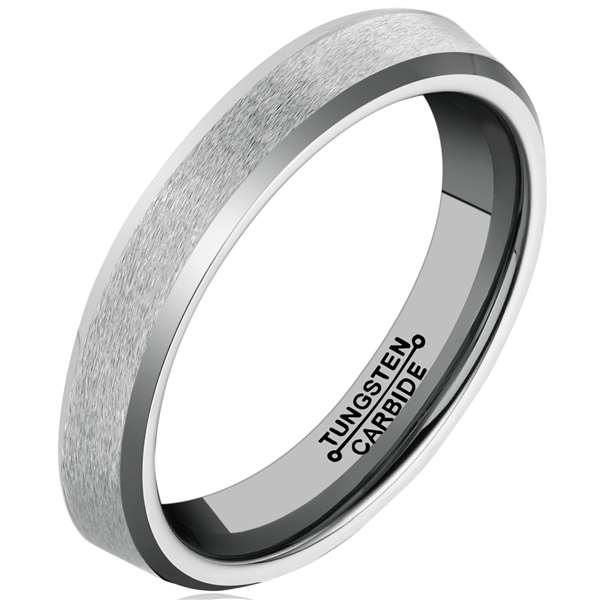 4mm Polished Finished Silver Tungsten Carbide Step Down Edge Ring With Matte Brushed Centre