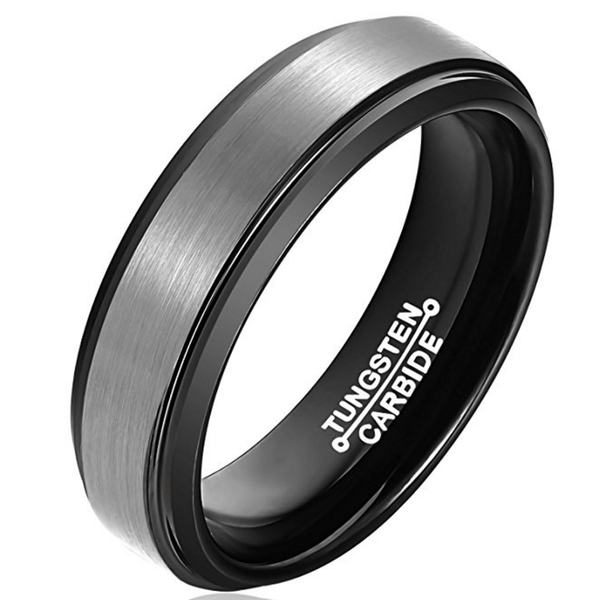 4mm Polished Finished Black Tungsten Carbide Step Down Edge Ring With Silver Raised Matte Brushed Center
