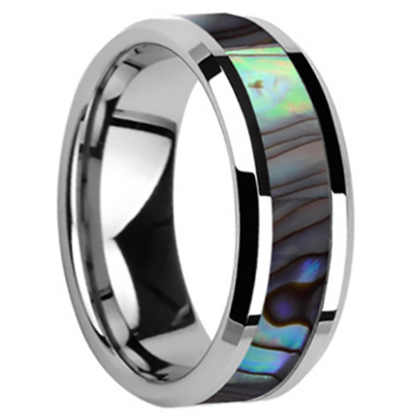 8mm Polished Finished Silver Ceramic Beveled Edge Ring With Shell Inlay